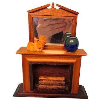 Fire Place W/Mirror, Vase ,Lion, & Wood