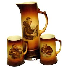 Christmas SALE!!!  Antique MONK Tankard With Matching Mugs - Rare Set