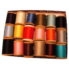 Vintage Large Early  WOODEN  Spools Thread - Doll Clothes