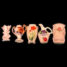 Five Small Bisque Vases For Your Dolls