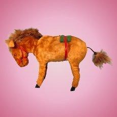 Vintage Wind Up Moving Fuzzy Donkey Toy