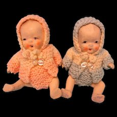 Bisque Vintage Twin Babies- With Their Booties All Original