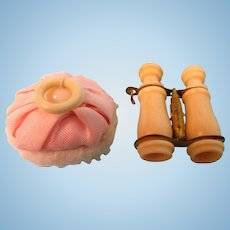 Antique Powder Puff and Bone Binoculars From Presentation Box