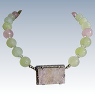 Art Deco Jade+Quartz+Seed Pearls Sterling Necklace
