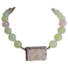 Art Deco Jade + Quartz Sterling Necklace