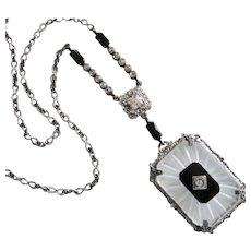 Deco Sterling Camphor, Onyx, Paste Necklace