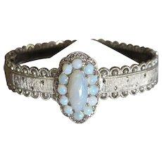 Deco Theodor Fahrner Opal+Marcasite Sterling Bangle Bracelet