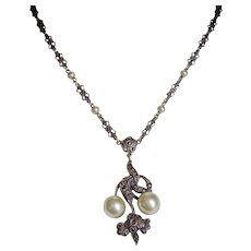 Edwardian Sterling+Faux Pearl+Marcasites Sterling Necklace