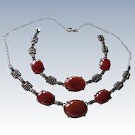 Art Deco Carnelian+Marcasite Sterling Necklace+Bracelet