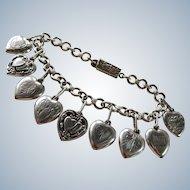 WWII Puffy Heart Sweetheart Sterling Charm Bracelet