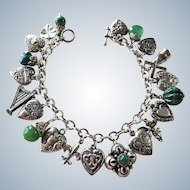 WWII Puffy Heart Sweetheart Sterling Charm Bracelet 21 Charms