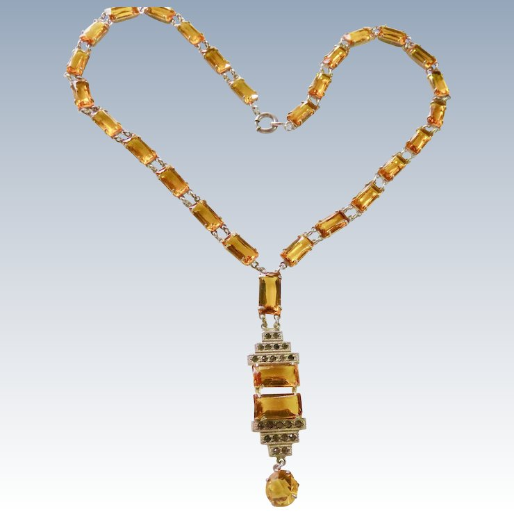 Art deco sterling citrine crystal necklace jack n jill ruby lane art deco sterling citrine crystal necklace aloadofball Gallery