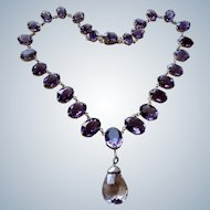 Victorian Huge Amethyst 830 Silver Riviera Necklace 160 Carats
