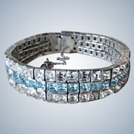 Art Deco Diamond+Topaz Paste Sterling Bracelet
