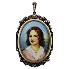 Victorian Antique Germany Sterling Locket with Signed Portrait