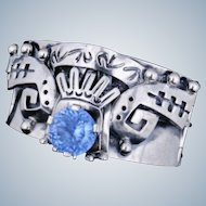 1950's Mexico Taxco Sterling + Gem Stone Bracelet Bangle