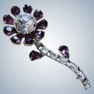 Hugest Deco Sterling Amethyst & Clear Paste Brooch