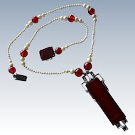 Deco Carnelian Marcasite Faux Pearl Sterling Necklace