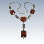 Art Deco Carnelian + Marcasite Sterling Y Necklace