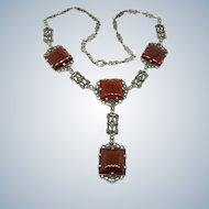 Art Deco Carnelian + Marcasite Sterling Y Necklace