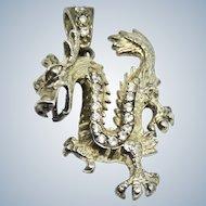 Vintage Dragon Sterling + Rhinestone Pendant