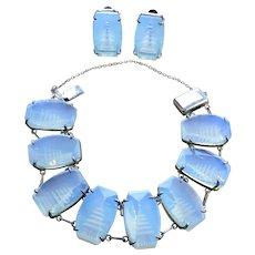 Japan Reverse Carved Opalescent Sterling Bracelet/Earrings