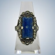 Art Deco Sodalite Sterling Marcasite Ring 6.25
