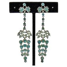 Edwardian Blue Zircon Paste Sterling Earrings Long