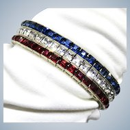 Deco Sterling Red White Blue Patriotic Bracelet