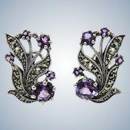 VINTAGE Amethyst + Marcasite Sterling Earrings Pierced