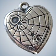 Spider and Fly Sterling 40's Puffy Heart Charm