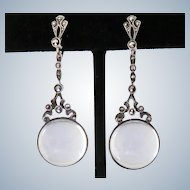Deco Pools of Light Rock Crystal Sterling Earrings German