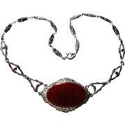 Art Deco Carnelian Marcasite Sterling Necklace Germany
