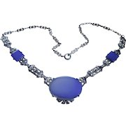 Art Deco Chalcedony + Marcasite Sterling Necklace