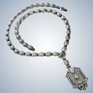 Art Deco Style Diamonds Sapphire Sterling Necklace