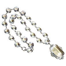 Art Deco Open Back Paste Crystal Sterling Necklace