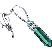 Art Deco Sterling Emerald Crystal Necklace