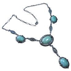 Art Deco Amazonite Sterling Marcasite Necklace