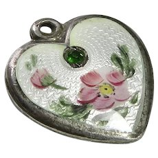 Walter Lampl Enamel Puffy Heart May Birthday Emerald Sterling Charm