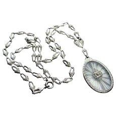 Art Nouveau Camphor Glass Sterling Necklace