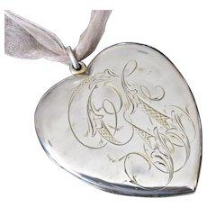 Huge Victorian Sterling Heart Locket Pendant