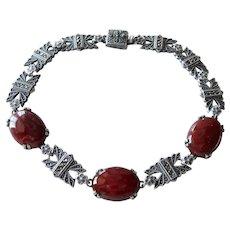 Art Deco Carnelian Marcasite Sterling Bracelet