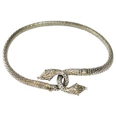 Victorian Snake Sterling Whiting & Davis Necklace Choker Emerald glass eyes
