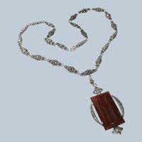 Art Deco Carnelian+Marcasite Sterling Necklace E.I.F. & Co.