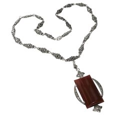 Art Deco Carnelian+Marcasite Sterling Necklace E.I.F. & Co.