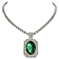 Otis Emerald and Diamond Paste Sterling Necklace