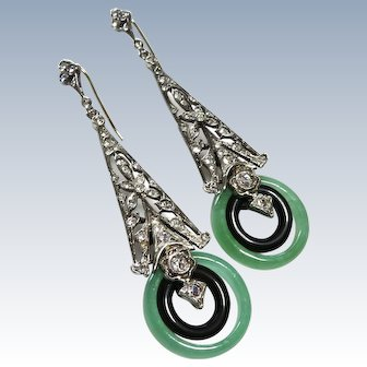 Art Deco Jade + Paste Sterling Earrings 8K Wires