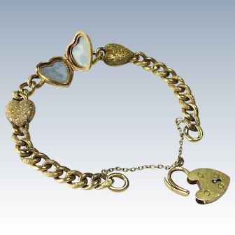 Victorian 9C Curb Link Locket & Heart Padlock Bracelet