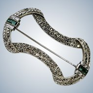 Art Deco Emerald+Diamond Paste Sterling Brooch Pin