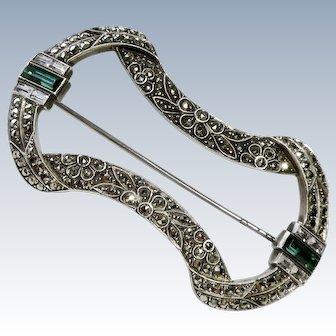 Art Deco Emerald+Diamond Paste Sterling Brooch Pin